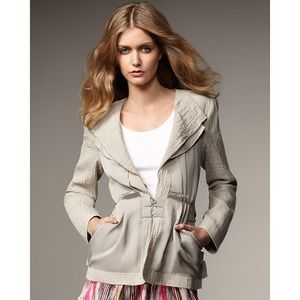Nanette Lepore Executive Jacket Linen Blazer Tan 4